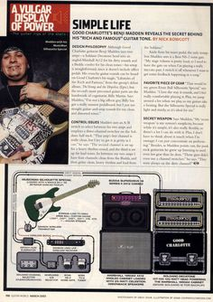 Benji Madden (Good Charlotte) Guitar Rig - March 2003 Guitar World Vulgar Display Of Power, Guitar Books, Good Charlotte, Famous Guitars, Guitar Rig, Learn Something New Everyday, Never Stop Learning, 2000s, Rigs