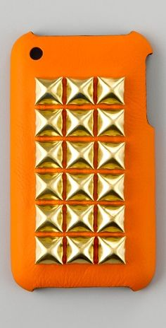 orange leather and gold stud iphone 4 case
