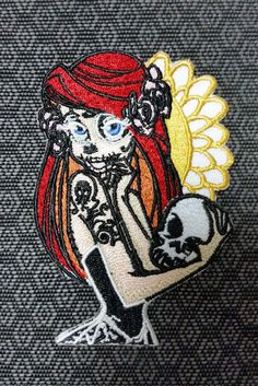 Tattooed Mermaid Day of Dead Embroidered Patch Ariel by GoMonogram