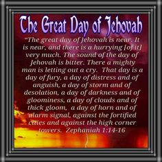 Zechariah 1:14-16 - The Great day of Jehovah is fast approaching. He will do away with all wickedness. Only those who live their lives in harmony with His commandments will survive. To learn more about what God requires of us, please visit JW.org.