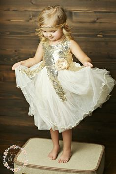 Gold sequin Flower girl dress Ivory and gold by SweetValentina