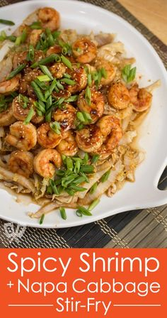 This Spicy Shrimp + Napa Cabbage Stir-Fry is a quick and delicious Chinese-inspired seafood meal. You won't even miss the rice! #ChineseNewYear #Chinese #lowcarb #lowcarbdinners #cabbage #seafood #shrimp #easymeals #quickdinner #weeknightdinner #simplerecipe #Asian Shrimp Recipes, Fish Recipes, Asian Recipes, Healthy Recipes, Ethnic Recipes, Vietnamese Recipes, Healthy Meals, All You Need Is, Napa Cabbage Recipes
