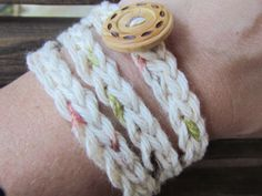 crochet bracelet with wooden button by HookedByAmy on Etsy, $5.00