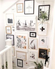 Opposite Wall: Art Posters and Frames- Minimalist Wall Art Prints We absolutely adore this staircase Gallery Wall by Cause we now have natural white & black oak frames too. Want to try this at home? Check out our DIY Size Guide. Diy Wall Art, Home Decor Wall Art, Diy Home Decor, Room Decor, Wall Of Art, Wall Art Bedroom, Gallery Wall Bedroom, Wall Art Prints, Gallery Wall Staircase