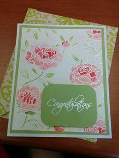 Derwent inktense, large flowers background stamp