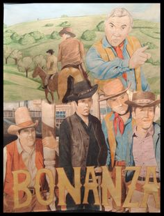 Bonanza (1959–1973) | Western | Ben Cartwright is the owner of the fabulous, half-million-acre Ponderosa Ranch. The industrious, independent Cartwright had been widowed three times, each of his wives providing him with a single son. | Artwork by Laura [©2008-2014 Hammy-chan]