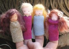 finger puppets made from gloves, cut the fingers off and glue on the a wooden ball for the head and felt wings for fairies or elves. let the kids draw the face on and glue on hair