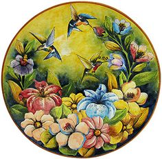Majolica pottery originated in the century and is primarily distinguished… Mexican Artwork, Kitchen Themes, Kitchen Decor, Form Design, Vintage Birds, Clay Art, Hummingbird, Art Forms, Pottery