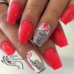 Pin on Nails Animal Nail Designs, Animal Nail Art, Toe Nail Designs, Love Nails, Pretty Nails, Elephant Nail Art, Deco Disney, Nail Art Techniques, Nagel Gel
