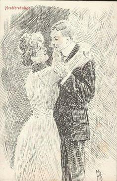 Postkort Humorkort Andreas Bloch. Hvedebrødsdage. Utg Lohne stemplet 1911
