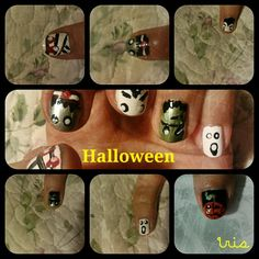 Halloween nails/ghost/frankestein /dracula/witch/mummy nail art