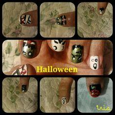 Halloween nails/ghost/frankestein /dracula/witch/mummy nail art