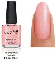 CND Vinylux Weekly Polish - Grapefruit Sparkle (swatched) $5