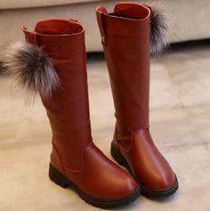 Купить товарМода Осень Зима Теплая Дети Девушки Детская Обувь Мяч Сапоги…