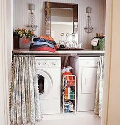 I've always loved this laundry area. Maybe I should try putting my French chandeliers in ours?