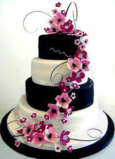 Magenta, black and cream wedding cake.