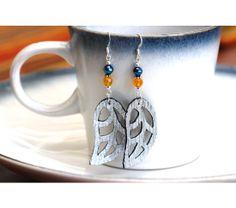 Silver Leaf Earrings, Leather Leaf Earrings, Blue Earrings, Silver Earrings, Yellow and Blue Jewelry, Leather Jewelry, Leaf Jewelry, $17.99