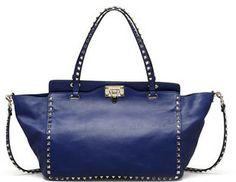 Valentino Rockstud Medium Tote Bag, Blue on shopstyle.com