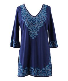This Blue Sonata Floral Embroidered V-Neck Tunic - Women by Peppermint Bay is perfect! #zulilyfinds