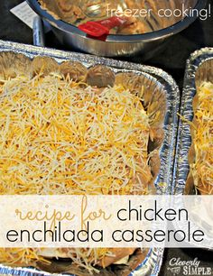 This recipe for chicken enchilada casserole is the best baked chicken recipe! I used it for freezer cooking to cut down on the time it takes to get dinner on the table.