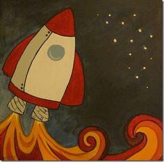 rocket ship nursery art