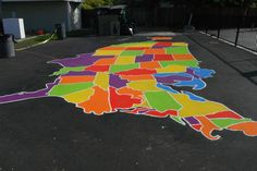 How to Paint U. and World Maps: Help the kids in your community learn while they play with a colorful U. or world map! Middle School Activities, School Games, Fun Activities, Playground Painting, Eagle Project, School Murals, Map Painting, Outdoor Classroom, Outdoor Learning