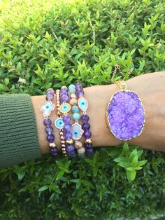Karma and luck Amethyst amazing bracelets! Check them out at: Www.karmaandluck.com ☯️💜☯️