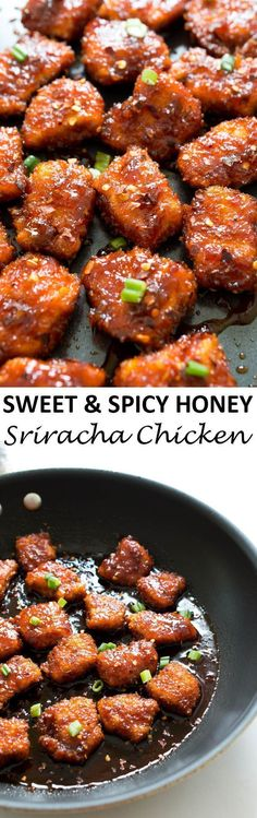Sweet and Spicy Baked Honey Sriracha Chicken. Takes less than 30 minutes to make and is so much better than take-out!   chefsavvy.com #recipe #sriracha #chicken #honey #spicy #dinner