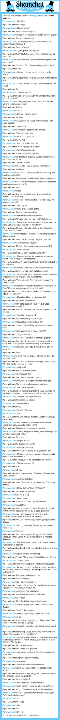 A conversation between Piper McLean and Percy Jackson