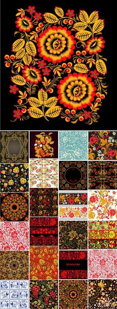 Хохлома цветочный орнамент   Floral ornaments Khokhloma, 25 EPS