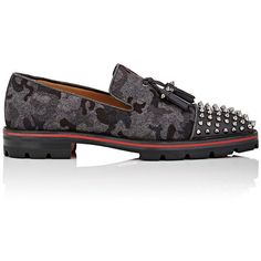 Christian Louboutin Men's Rossini Flat Flannel Loafers (£855) ❤ liked on Polyvore featuring men's fashion, men's shoes, men's loafers, mens camo slip on shoes, mens tassel loafer shoes, mens shoes, mens slip on loafers and mens spiked loafers