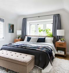 Our Master Bedroom Reveal + Get The Look - Emily Henderson - Emily Henderson Modern English Cottage Tudor Master Bedroom Cropped - Small Master Bedroom, Master Bedroom Design, Home Decor Bedroom, Master Bedrooms, Bedroom Designs, Bedroom Wall, Bedroom Ideas Master For Couples, Girls Bedroom, Budget Bedroom