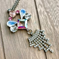 Vintage Necklace -:- Variety of Stones - Paste - Rhinestones ) Aurora Borealis-  - Unique Gift - Art Deco - Classic Anniversary Gift - Camee by AdoreYouVintage on Etsy #classicalvintagejewelry