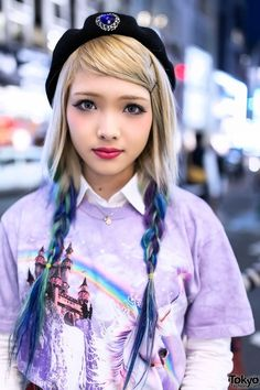 RT @Tokyo Fashion: Ezaki Nanaho in Harajuku w/ Blue Ombre Hair, Unicorn Top & Plaid Skirt http://flip.it/sk2p1