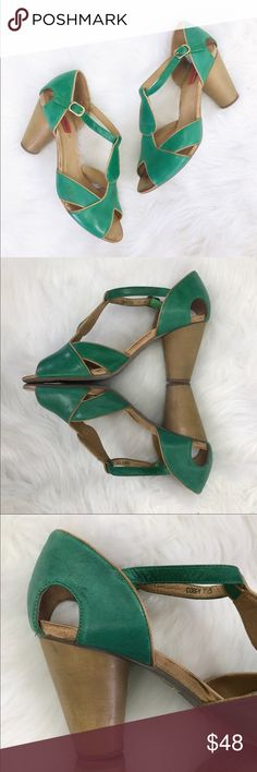 """Miz Mooz Green Leather Pumps Size 7.5 Miz Mooz Green Leather Pumps T-Strap"""" COREY"""" Sandals Wooden Heel Women'sSize 7.5  Heel 3.5""""  *These are preloved and there is some wear to the shoes, as pictured. Miz Mooz Shoes Heels"""