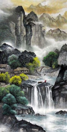 Ancient Village River Landscape Abstract art Chinese Ink Brush Painting, 68CM*136CM Chinese wall scroll painting Freehand brush work Artist original works of handwriting Rice paper Traditional art painting. USD $ 285.00