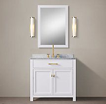 RH's Hutton Single Vanity:This versatile collection brings a spare, Parsons-like sensibility to the bath. Toilet Storage, Storage Mirror, Bathroom Storage, Beach Bathrooms, Modern Bathroom, Small Bathroom, Master Bathroom, Bathroom Ideas, Furniture Vanity