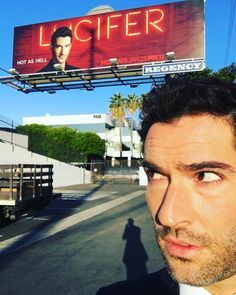 "dailyluciferonfox: ""dccomics: On the set of good day la having just talked about #LUCIFER #luciferiscoming they didn't quite fit my name on! dccomics: Is that the devil on my shoulder????..."
