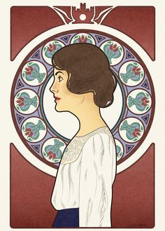 Downton Abbey.. art nouveau.. Mucha style art (her face looks too surprised, but COOL)