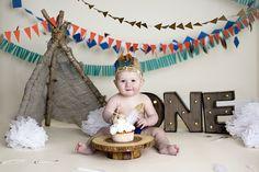 Southwest cake smash, One year boy photo shoot, cake smash, Southwest, teepee, Indian, feathers