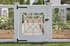 AZEK and wire garden enclosure gate. AZEK and wire garden enclosure gate. Backyard Fences, Garden Fencing, Garden Beds, Backyard Landscaping, Fenced Vegetable Garden, Vegetable Garden Planner, Vegetable Garden Design, Walpole Outdoors, Lattice Garden