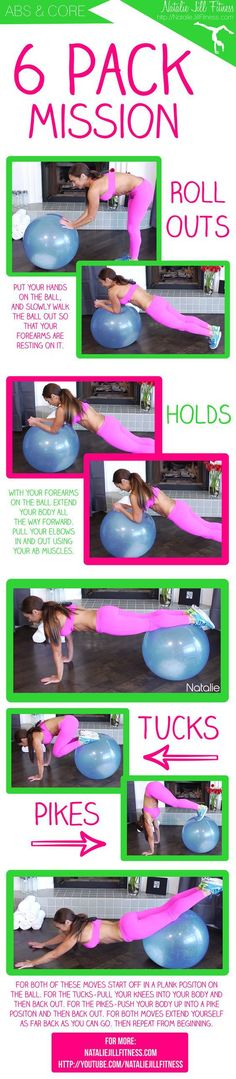 6 Pack Mission: How To Get Defined Abs w/ a Stability Ball Card Workout, Abs Workout Video, Best Ab Workout, Snacks For Work, Healthy Work Snacks, Healthy Recipes, Stability Ball Exercises, Core Stability, Ab Exercises