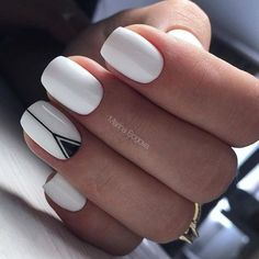 Short Nail Designs, Nail Art Designs, Nails Design, Jolie Nail Art, Black And White Nail Designs, Black White, White Nails With Design, Geometric Nail Art, Short Nails Art