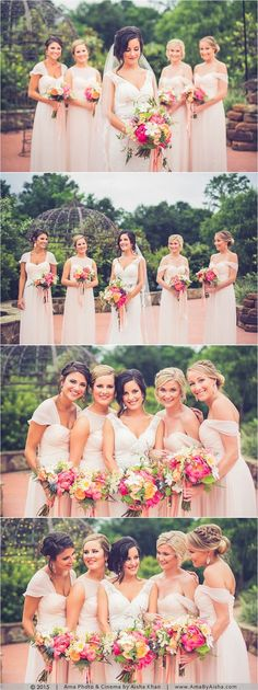 Beautiful bride with her gorgeous bridesmaids | Love the mix of soft blush color and bright pinks. ©️️2015 Wedding photography from http://www.AmaByAisha.com
