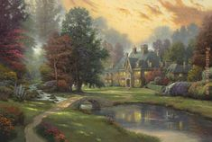 thomas+kincade | Thomas Kinkade - Thomas Kinkade Lakeside Manor Painting