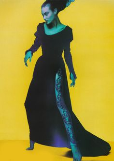 """UK Vogue October 1995 """"Couture in Colour"""" Model: Shalom Harlow Nick Knight"""