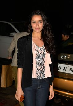 Shraddha Kapoor dressed casually in a printed tee and blue jeans paired with a jacket at Sanjay Leela Bhansali's surprise bash. #Style #Bollywood #Fashion #Beauty