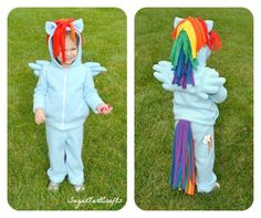 my little pony costumes for kids | Front and Back views of Rainbow Dash Costume