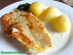 Das perfekte Fisch:   ROTBARSCHFILET an Weißwein-Sauce-Rezept mit einfacher Schritt-für-Schritt-Anleitung: Fischfilet unter fließendem Wasser abbrausen…