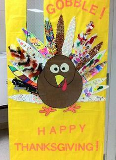 Thanksgiving Turkey Door Display Bulletin Board Idea